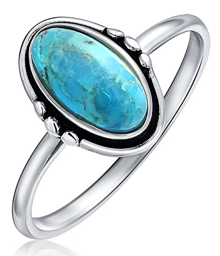 (Simple Bezel Oval Boho Fashion Stabilized Turquoise Ring For Women For Teen 1MM Thin Band 925 Sterling Silver)