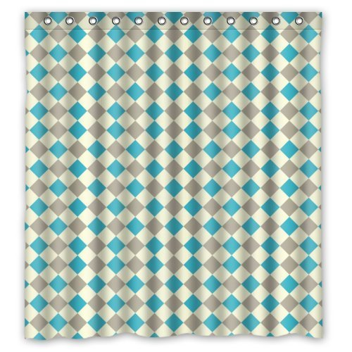 Tic-Tac Curtains Checker Board Pattern Design Resistant Waterproof Bathroom Fabric Shower Curtain 66