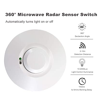 Microwave Radar Sensor Light Switch Motion Detector Movement Sensor  Microwave Motion Movement Detector Presence Detector Light Auto On/Off
