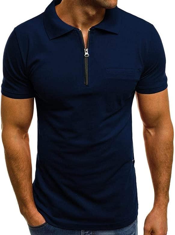 VJGOAL Hombres Camiseta Casual Color sólido Solapa con Cremallera ...