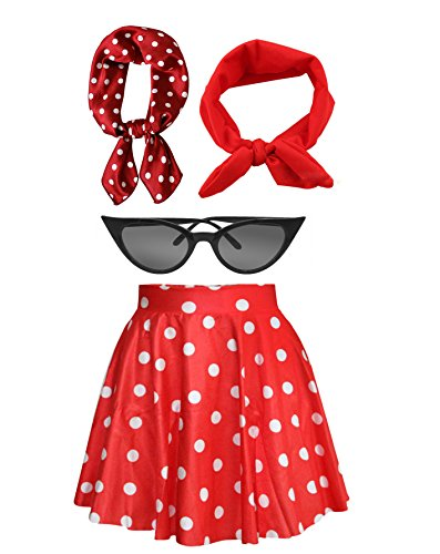 Fancy 50s Outfit Women's High Waist Candy Colors Polka Dot Skirt Costume Outfit (Red&White Dot)