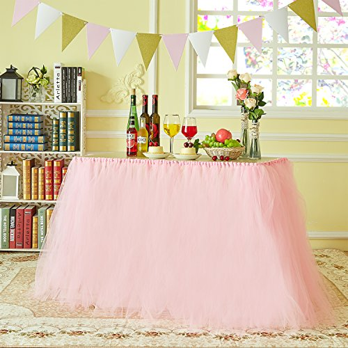 MACTING Handmade Tutu Tulle Table Skirt Cover Improved for Girl Princess Birthday Party Baby Showers Weddings Holiday Parties Home Decoration, 47-60…