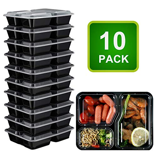 FLERISE Food Containers 10 Packs 3 Compartment With Lids Leak-proof Lunch Box Bento Box Microwave/Dishwasher/Freezer Safe ...
