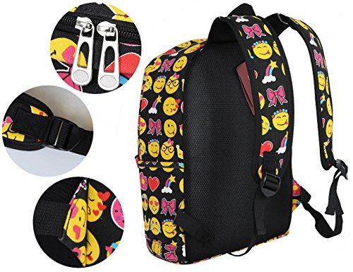 Bag Pattern Backpack Shoulder Blue Cool 2 Travel Kids Printing Cute Backpack Smiling Zicac School QQ Rucksack Student Face Satchel Printing Black Canvas IFUqXwng