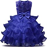 NNJXD Girl Dress Kids Ruffles Lace Party Wedding Dresses Size (150) 7-8 Years Flower Deep Blue