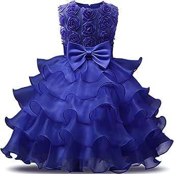 NNJXD Girl Dress Kids Ruffles Lace Party Wedding Dresses Size (70) 0-6 Months Flower Deep Blue