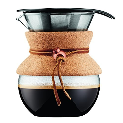 - Bodum Pour Over Coffee Maker with Permanent Filter, 17 oz, Cork Band