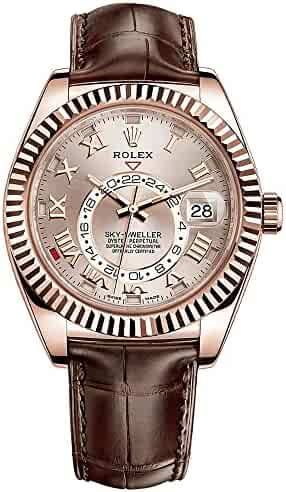 Rolex Sky-Dweller Everose Gold on Brown Leather Strap 326135