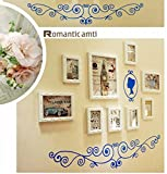 Hongyu 9 multi-frame photo wall European solid wood photo wall photo frame creative combination decorative painting background wall (Color : White)