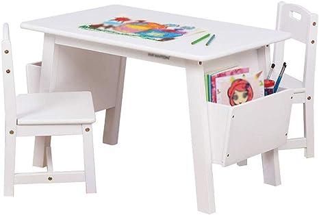 Table Pour Enfants En Bois Massif Avec Rangement Table De Jeu En Bois Dur De Luxe Pour Enfants Chaise De Bureau Et Dossier Pour Salle De Jeu Garderie Maternelle 1 Table 2 Chairs