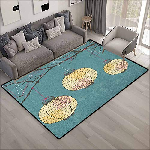 Classroom Rug,Lantern Three Paper Lanterns Hanging on Branches Lighting Fixture Source Lamp Boho,Anti-Static, Water-Repellent Rugs,6'6