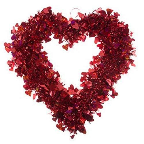 XL 21 Glossy RED Valentines Day Wreath//Tinsel Valentines Day Heart Wreath ~ Front Door Wall Hanging Mantel and Free Bouncy Bear Door Hanger Decor Party Decor