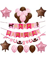 Western Cowgirl Themed Party Supplies and Decorations for Girls-1 Horse Happy Birthday Banner,1 Horseshoe Boot Guns Garland, 2 Brown and 2 Pink Star Shaped Mylar Balloons,Latex Balloons,Rodeo Party Decor for Kids First 1st 2nd 3rd 4th 5th Bday