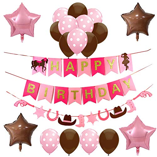 Western Cowgirl Themed Party Supplies and Decorations for Girls-1 Horse Happy Birthday Banner,1 Horseshoe Boot Guns Garland, 2 Brown and 2 Pink Star Shaped Mylar Balloons,Latex Balloons,Rodeo Party Decor for -