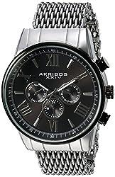 Akribos XXIV Men's Swiss Quartz Multi-Function with Silver-Tone Case with Black Sunray Dial on a Shark Mesh Stainless Steel Bracelet Watch AK919SSBK