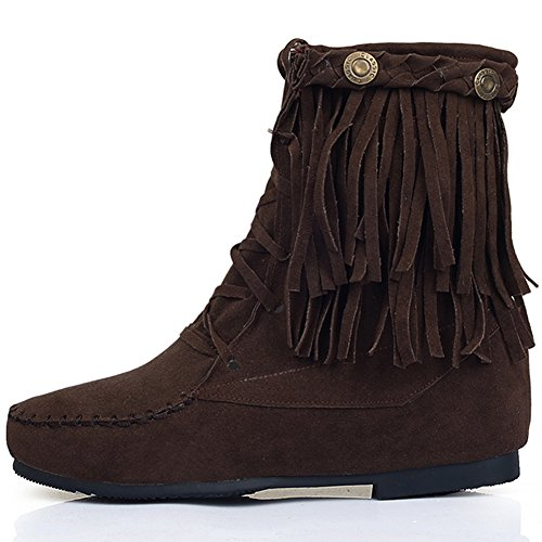 Comfortable Boots Casual Boots up BIGTREE Brown Lace Breathable Short Women Fashion Ankle Tassel 6Pw8xqzPS