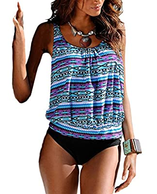 Blugibedramsh Womens Printed Tankini Swimwear Two Piece Swimsuit Set Bathing Suit