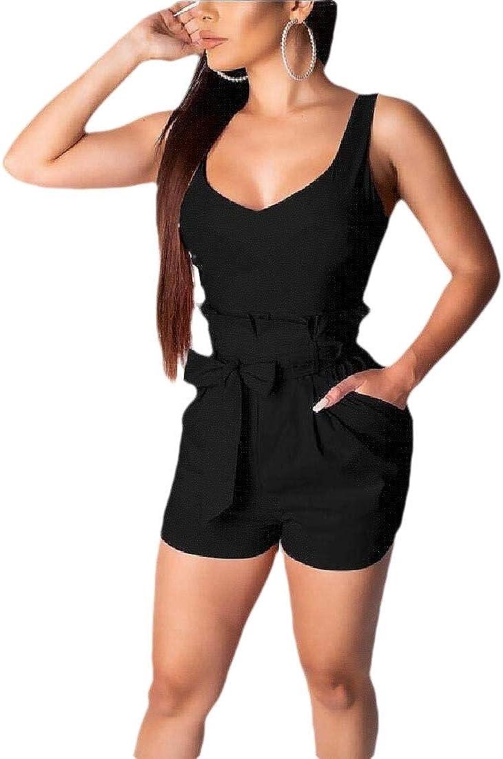 YONGM Womens Ruffles Short Pants Strap Bodycon Jumpsuits Overalls