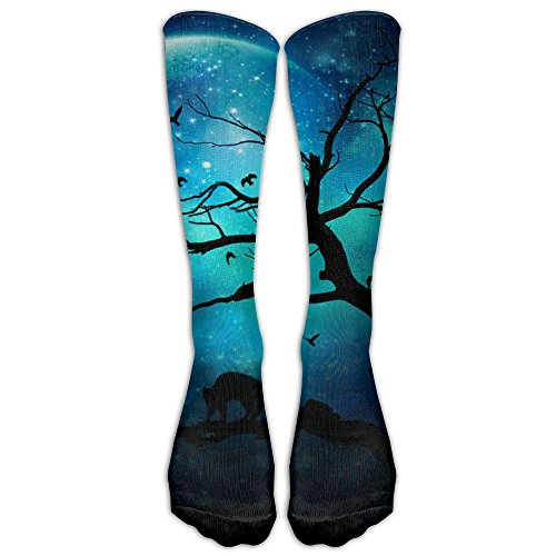 Dark Power Blue Moon Novelty Long Tube Stockings Football Crew Socks