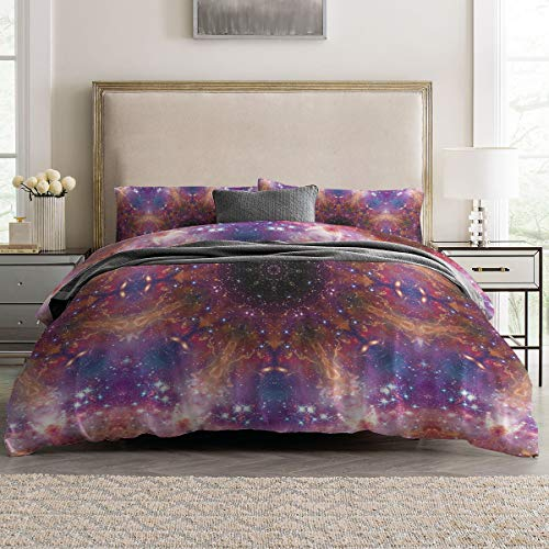 Duvet Cover Sets - Bright Mandala Flower 4 Piece Queen Bedding Sets Soft Microfiber Bedspread Comforter Cover and Pillow Shams for Adult/Children/Teens