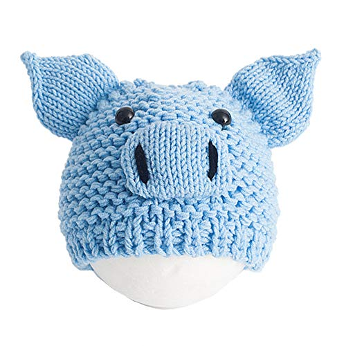 Alamana Pretty Cute Cartoon Pig Hat Knitted Beanie Cap Newborn Kids Photography Prop Blue ()