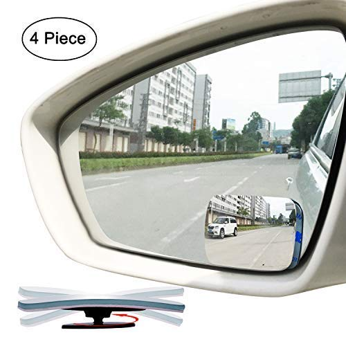 Slim Square Blind Spot Mirror, Ampper HD Glass Frameless Convex Rear View Mirror, Pack of 4