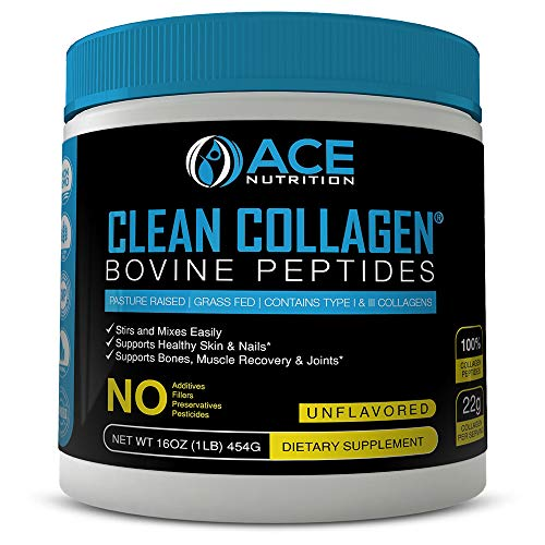 Collagen Peptides By ACE Nutrition - Clean Collagen Powder Bovine Peptides (16oz) - Pasture Raised, Grass Fed, NON-GMO, Gluten Free, Natural Collagen Powder - Unflavored & Easy To Mix, Made In The USA