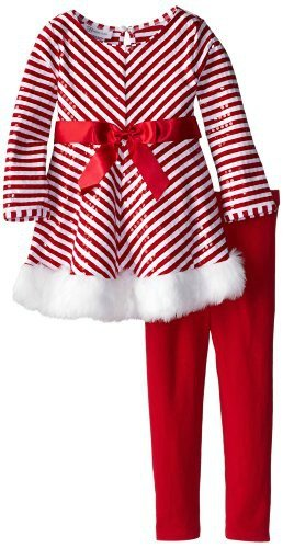 Bonnie Baby Baby Girls' Mrs Claus Santa Christmas Dress & Leggings 18M -