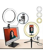 "10"" Laptop Ring Light MACTREM Ring Light with Tripod, Clamp & Phone Holder for Video, Makeup, Selfie, Photography, Live Streaming, Tiktok, 3 Light Modes & 10 Brightness Level"