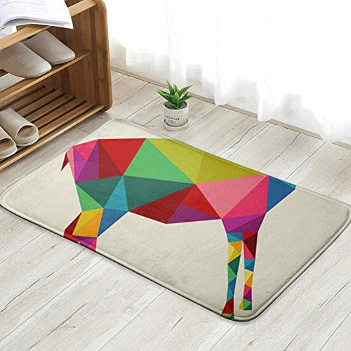 Cool pillow New Year Goat 2015 Colorful Geometric Animals Wildlife Holidays Personalized Custom Doormats Indoor/Outdoor Doormat Door Mats Non Slip Rubber Kitchen Rugs 31.5 X 19.5 Inch (Lunar New Year Year Of The Goat)
