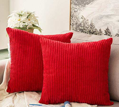 Inshere Pack of 2 Corduroy Throw Pillow Covers Decorative Soft Striped Velvet Square Cushion Cases for Couch Bed Sofa 18 X 18 Inches (Firefighter Pillows For Beds)