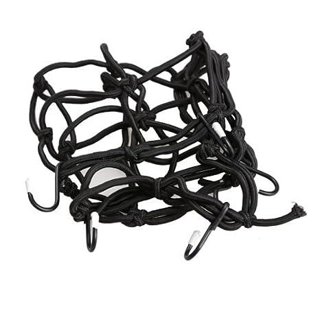 6 crochets pour r/éservoir de carburant avec filet filet pour moto 30 x 30 cm noir