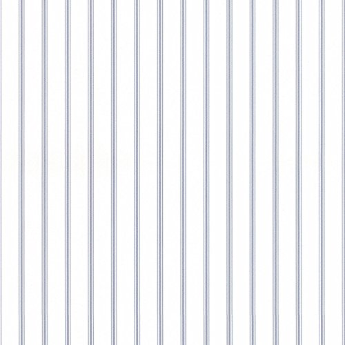 Ticking Stripe Wallpaper in Light Blue, Blue, Denim SY33929 by Norwall