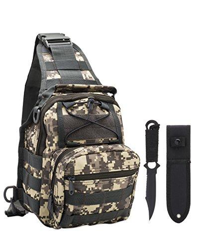 Tactical Sling Military Pack Backpack + Tanto Knife Blade Survival Set