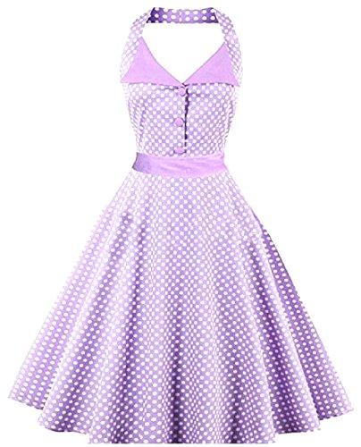 Crewneck Hepburn Party Stretch Empire Light 50s Waist Coolred Dress Women Purple Mini HXBxEwxOAq