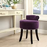 Inspired Home Taylor Velvet Contemporary Nailhead Trim Rolled Back Vanity Stool, Plum