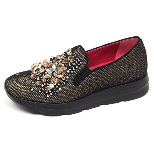 On Shoe Nero oro E7592 Loafer Uno Woman gold 181 Tissue 8 Donna Black Slip Mocassino zPRqPg