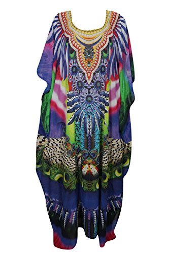 Womens Kimono Caftan Digital Print Georgette Bikini Cover Up Sexy Sheer Moroccan Bohemian Maxi Dress One Size ()