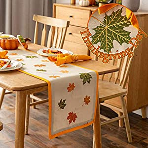 Cassiel Home Thanksgiving Day White Table Runner 15×72 Embroidery Fall Leaves on The Table Runner with Orange Edge Halloween Accessories Table Cloth for Dinner Party