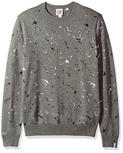 Lacoste Men's Crewneck Printed Sweater, Palladium Mouline/Multico Large