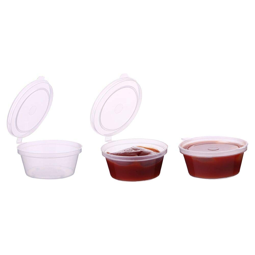 Laojbaba 1-OZ Disposable Plastic Sauce Cup With Cover,Leak Proof, Seasoning, Custard Plastic Cup, Jelly Bubble Cup, Very Suitable For Mucus Storage, Sample Distribution, Food Storage And So On,50 Pieces