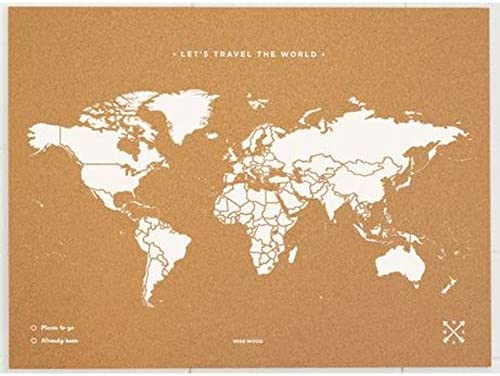 Miss Wood Map XL - Mapa del mundo de corcho, 60 x 90 cm, Blanco: Amazon.es: Hogar