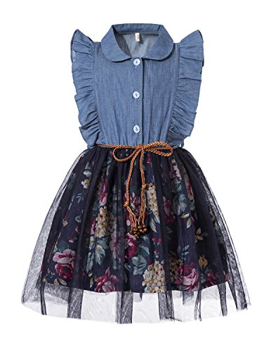 Tkiames Little Girls Spring Summer Dress Denim Floral Swing Skirt with Belt Girls Fashion Tutu ()