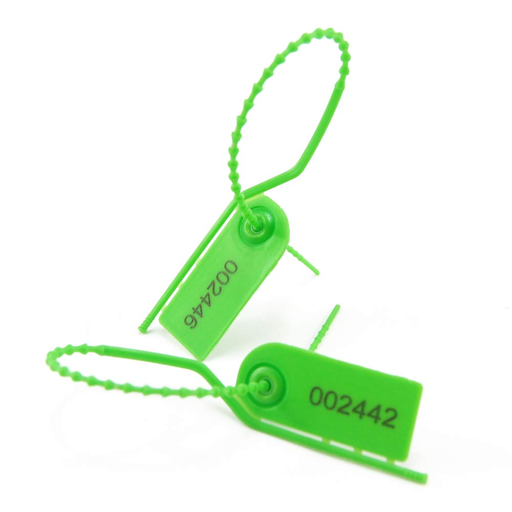 Disposable Self-Locking Breakaway Signage Tags for Clothes,Shoes Pull Zip Ties Tearing-Off Type Cabinet Storage Anti-Tamper Security Seal Tags Numbered 100 PCS, Green