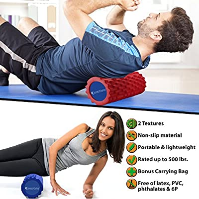 Foam Roller - 2 Contours, Non-Slip - Deep Tissue Massage, Target Knots in Muscles, Decrease Workout Recovery Time - Free of Latex, PVC, & Phthalates - Travel Pouch, Free eBook