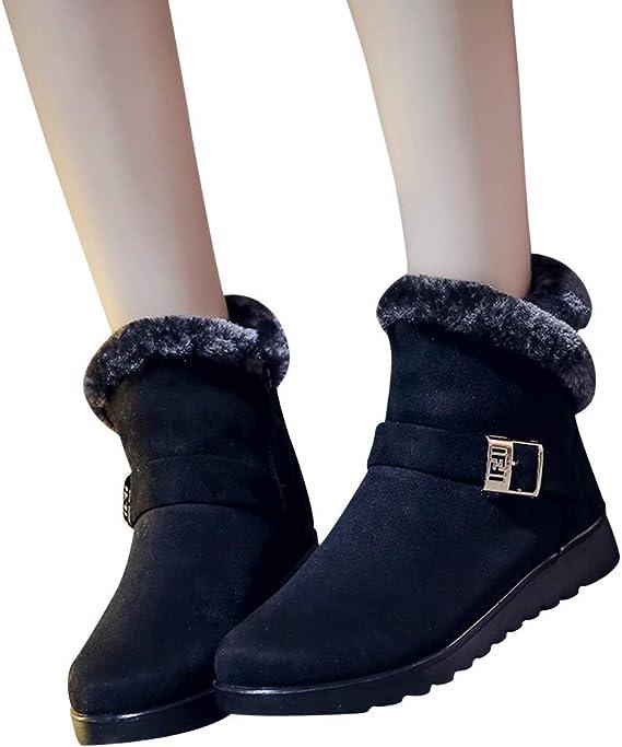 JiaMeng Mujer Retro Otoño Invierno Botines de Moda de Nieve Planas de Terciopelo Alto Calentar Botas De Nieve Anti-Deslizante Lazada Zapatos Botas de Trabajo: Amazon.es: Ropa y accesorios