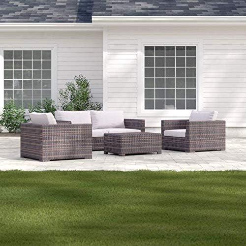 Juego de sofá para patio, porche o piscina, de mimbre para exteriores, de la colección Cabana: Amazon.es: Jardín