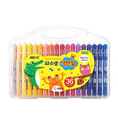 (Amos Premium Non-toxic Silky Crayon Pasnet 36 Colors)