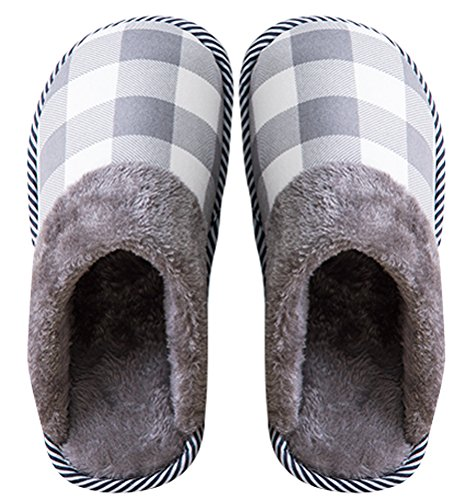 Cotton Slides Slipper Men, Indoor Home Shoes Flat Winter Shoe Faux Fur Lined Gird Pattern Grey