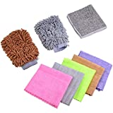 DEDC 8Pcs Automotive Cleaning Cloth Kit with Microfiber Wash Mitt Soft Microfiber Cloth Washing Towel Kit